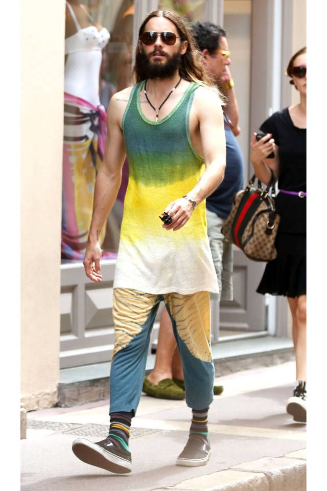 Jared Leto Sports a Tie-Dye Tunic in St. Tropez - Jared Leto Vacation Style - Harper's BAZAAR Magazine