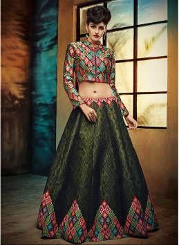Latest Mehendi Green Banglore Satin Silk Semi Stitched Free Size Xxl Lehenga Choli For Women