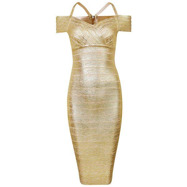 Posh Girl Gold Off Shoulder Foil Print Bandage Dress -Gold-L ($178) ❤ liked on Polyvore featuring dresses, gold, brown dress, posh girl, gold dress, brown bandage dress and gold cocktail dress