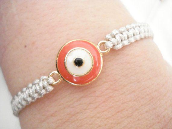 Coral evil eye bracelet Gold evil eye bracelet by Poppyg on Etsy