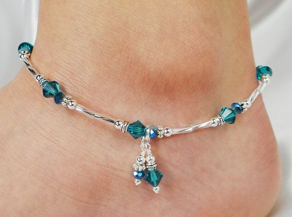 Anklet, Ankle Bracelet, Swarovski Crystal Turquoise Blue, Aqua Crystal, Double Dangle, Beaded, Wedding, Beach, Vacation, Resort