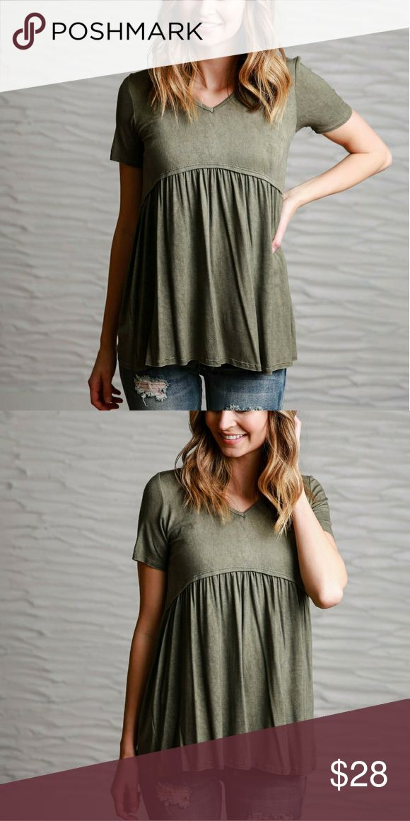 Olive Tee Brand new.  Purchase from an online boutique, it did not come with attached tags. Flamingo Urban Tops Blouses