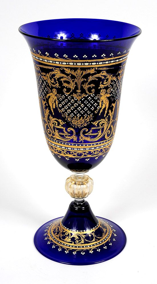 Murano Glass Vase. Hand blown glass, hand painted design. Cobalt blue with gold leaf floral highlights. Scene depicts St. Mark's Square in Venice