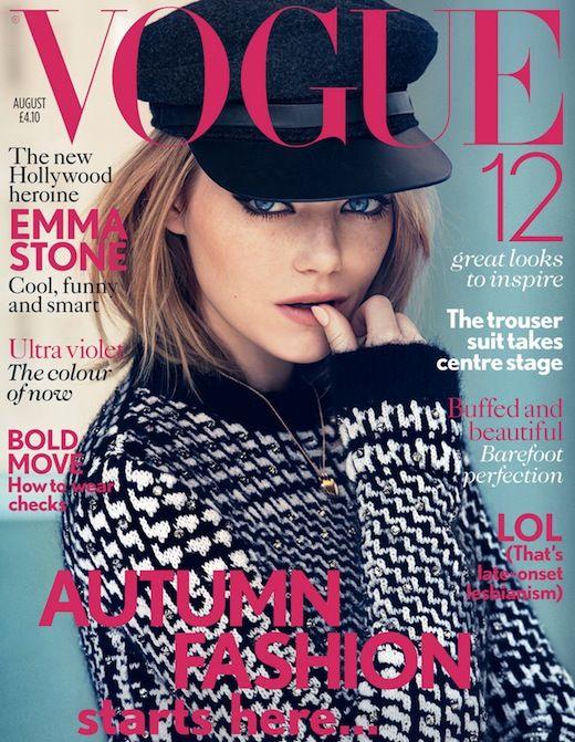 Emma Stone Covers British Vogue August 2012Patricks Demarch, Auguste 2012, Emma Stone, Vogue Uk, British Vogue, Vogue Magazine, Uk Auguste, Magazines Covers, Emma Stones
