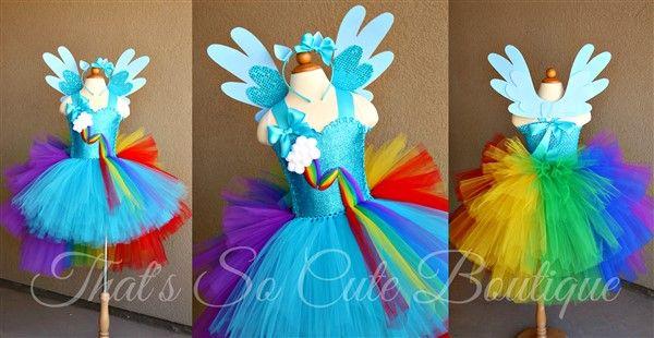 Rainbow Pony Dash Tutu Dress-rainbow, my little pony, horse, unicorn, birthday, turquoise, tutu dress, tutu, party, fun, bright
