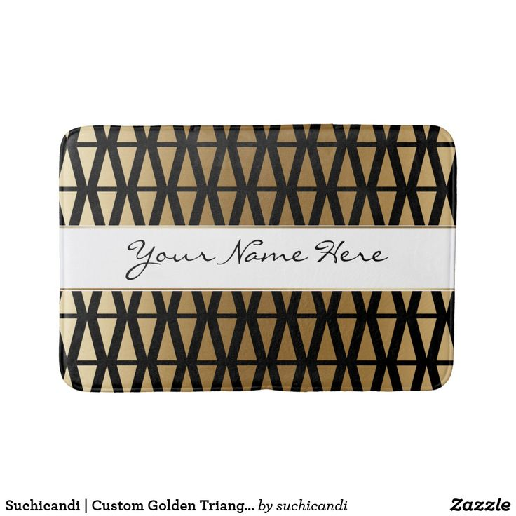 Suchicandi | Custom Golden Triangles on Black Bath Mat