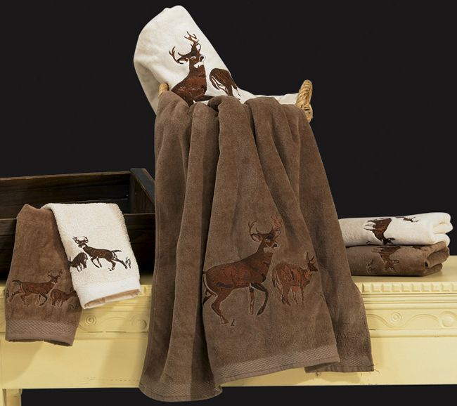 Deer Towel Set Cream Barndominium Decor Ideas Towel