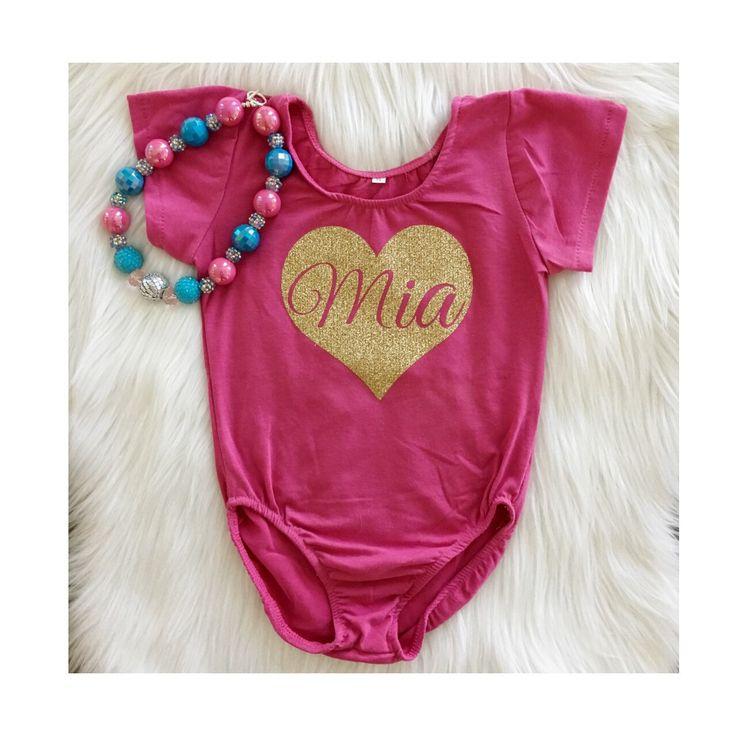 Glitter Gold Heart Custom Name Leo- Cotton Lycra Bodysuit, Girls Short Sleeve Leotard, Valentine Leotard, Pink Leotard by MiaMiniBoutique on Etsy