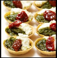 marinated feta, pesto, semi dried tomato mini tartlets