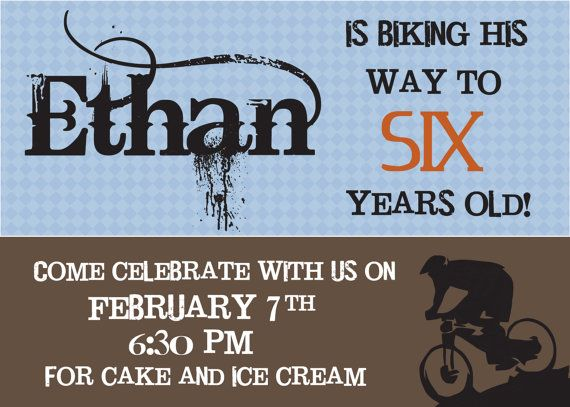 Mountain BIke Birthday Party Invitation - Customized for you