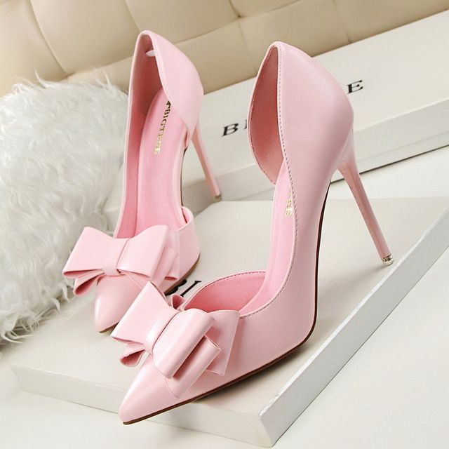 2016 New Summer Women Pumps Sweet Bowknot High-heeled  Shoes Thin Pink High Heel Shoes Hollow Pointed Stiletto Elegant G3168-2