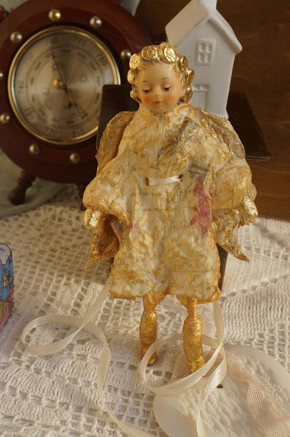 Angel gold Cotton Batting Christmas Ornament  Spun Cotton