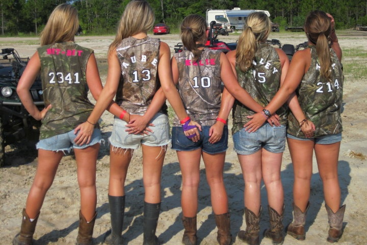 Love this idea for brides maids for the bachelorette party....when we go paint balling, skeet shooting or 4 wheeling in the mudd?!?!....or all of the above!!