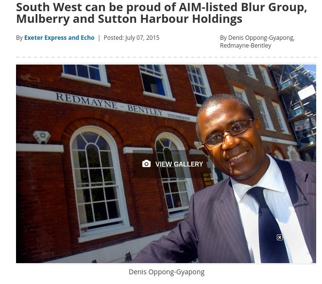 Express & Echo - 'South West can be proud of AIM-listed Blur Group, Mulberry and Sutton Harbour Holdings' http://owl.li/Ph42m