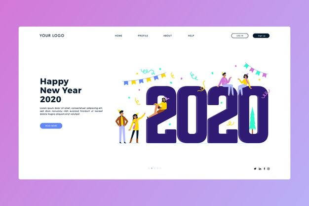 Download New Year Landing Page In Flat Design For Free Landing Page Newyear Vector Free