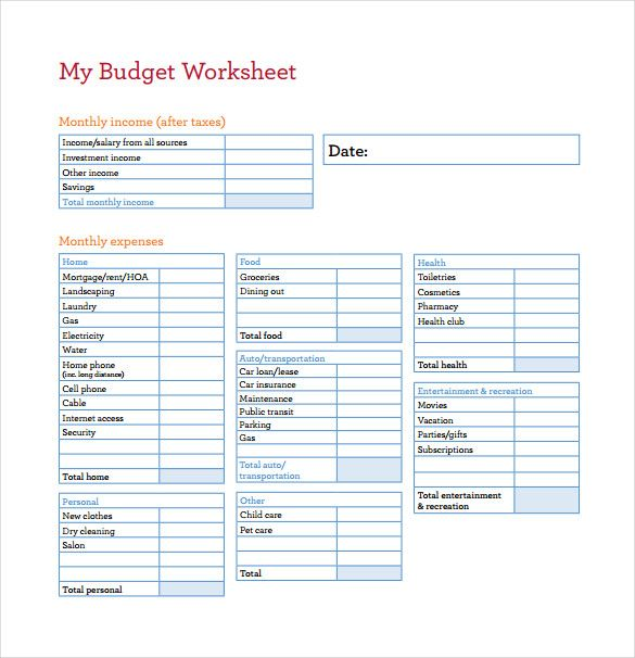 My Budget Worksheet Template Free Budget Spreadsheet Template How To Find Best Budgeting Worksheets Budget Spreadsheet Template Printable Budget Worksheet