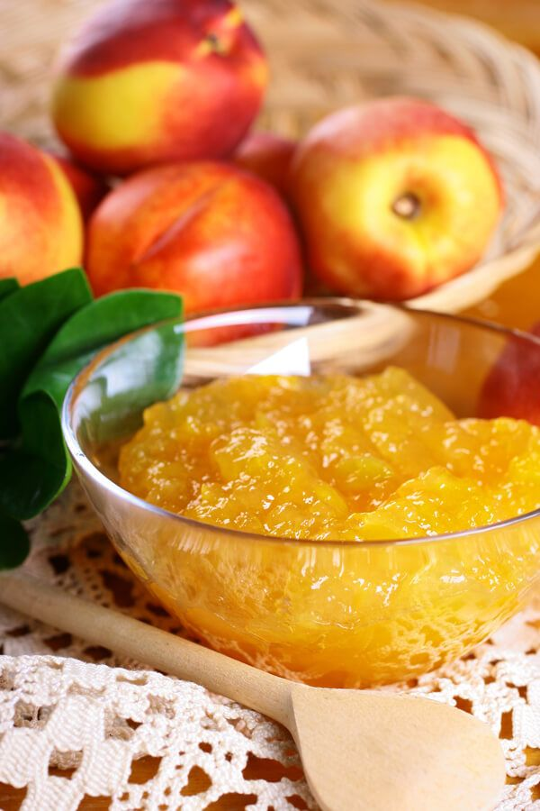 Fresh Peach Jam in the Microwave – Made with peaches, lemon juice, powdered frui…