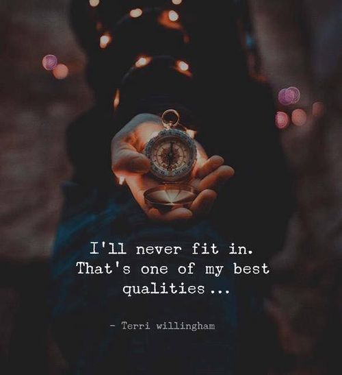 """""""I'll never fit in. That's one of my best qualities..""""~Terri Willingham"""