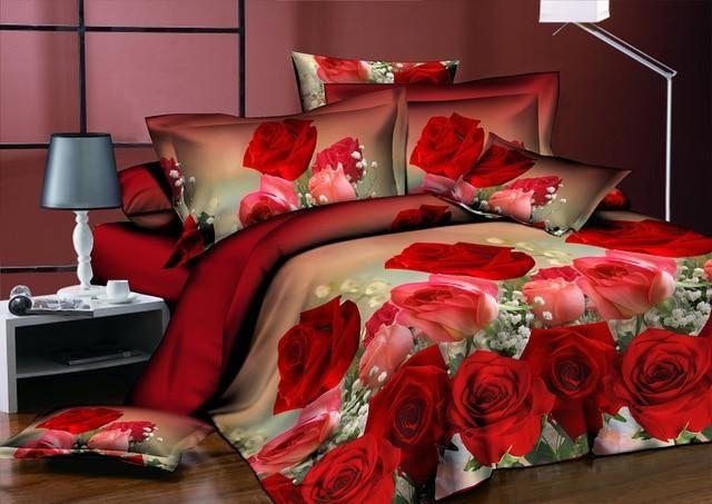 Neue schöne 3D Blume Rose Fest Muster Bettwäsche Set Bettwäsche Bettbezug Bettlaken Kissenbezug 4pcs / set9