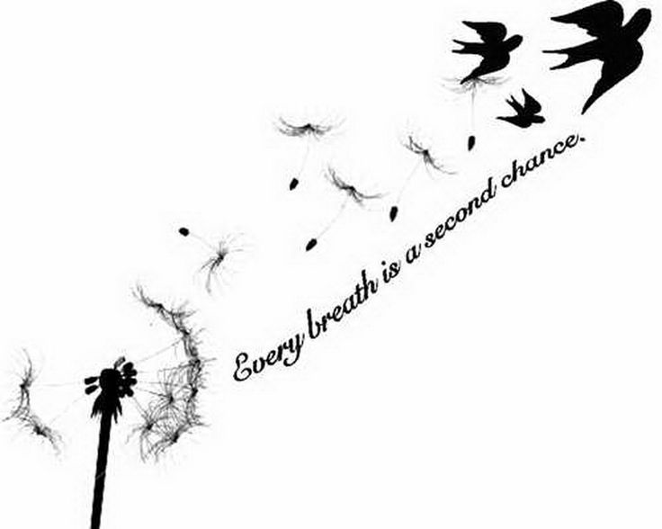 Birds Blowing From Dandelion With Quote Tattoo Design