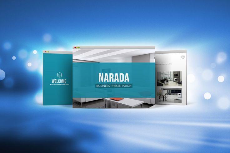Template de PowerPoint Narada  O modelo Narada PowerPoint tem 70 slides exclusivos em cada arquivo em 16: 9 (HD). 50 + arquivos de opção de cores de temas (XML), 30 slides de ícones pronto para usar.