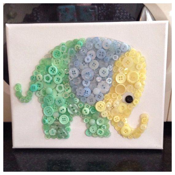 Elephant Button Art Canvas perfect for nursery