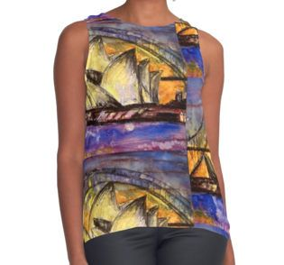 Hot Sydney Night Contrast Tank Top. The Sydney Harbour Bridge and the Sydney Opera House in vibrant purples, yellows and oranges. Colours from a hot summers night. Perfect to brighten up your wardrobe and for those who love these iconic Sydney sites. Hot Sydney Night Contrast Tank available in a selection of sizes.