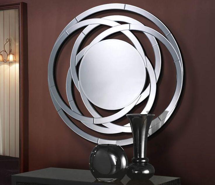 Espejo moderno de cristal modelo aros c decoracion for Espejos decorativos modernos