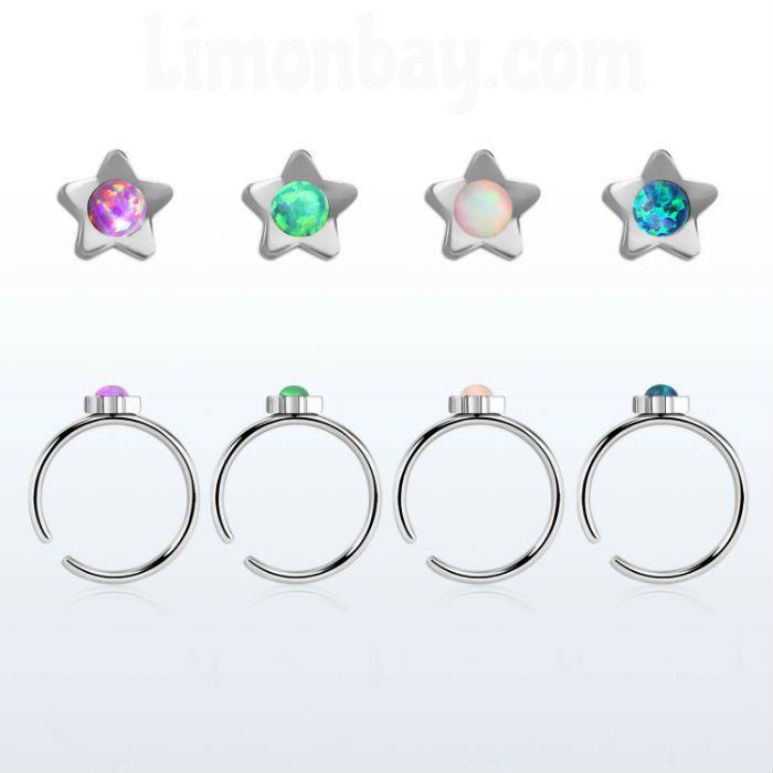 Aros para piercing de nariz con estrella y ópalo central: https://www.limonbay.com/aro-para-piercing-de-nariz-ultra-fino-con-estrella-y-opalo 🌠