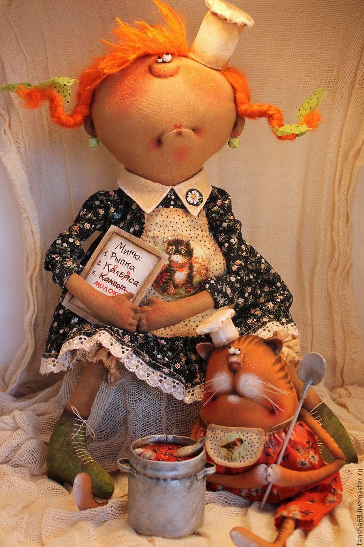 Купить Кулинары... - комбинированный, текстильная кукла, ароматизированная кукла, интерьерная кукла, котик, ткань, синтепух