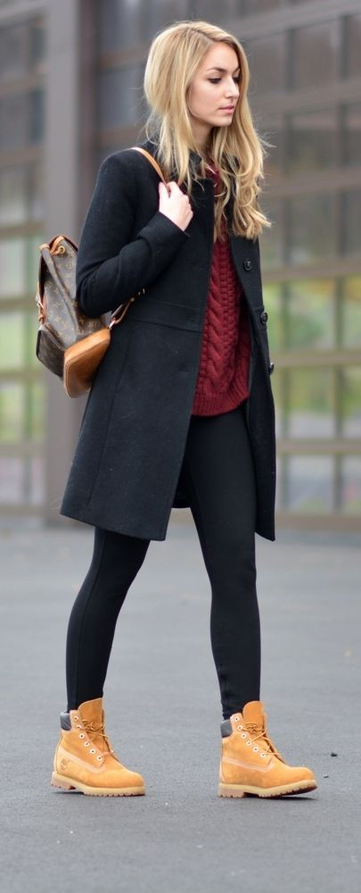 Fall look   Timberland boots, burgundy sweater and chic coat