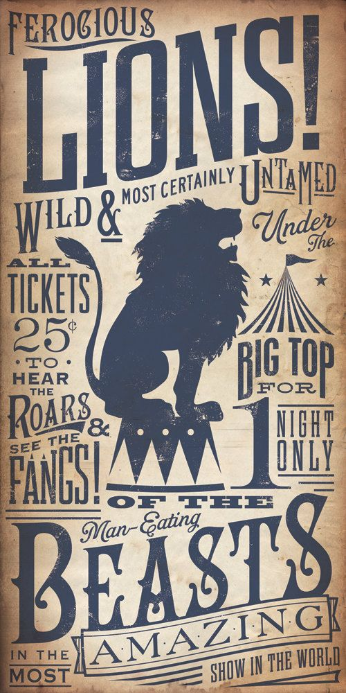 Circus Lion Tamer Vintage Style Kids graphic artwork on canvas 8 x 16 by stephen fowler