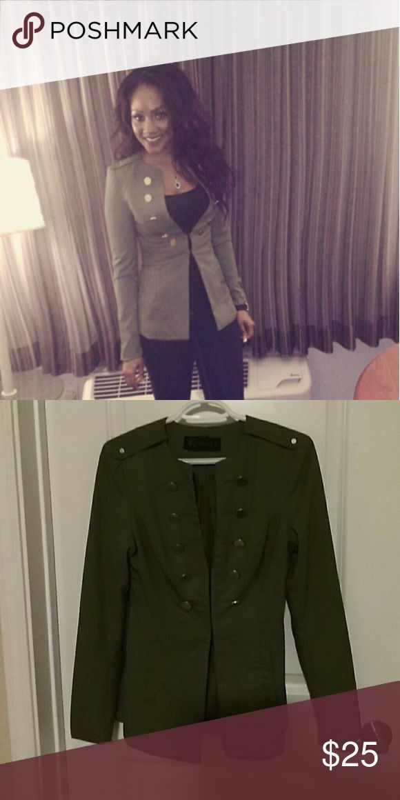 Military style blazer Deep green military style jacket with gold decorative  buttons. Kardashian Kollection Jackets & Coats Blazers