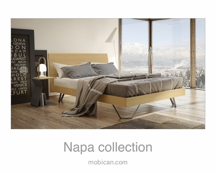 Click here to see Mobican's Napa bed with Wood Headboard is shown in White Matte Oak. It is being introduced at #HPMKT this week. | Cliquez ici pour voir le lit Napa de Mobican: http://mobican.com/en/napa/ #mobican #bed #bedroom #madeincanada #contemporary #oak #furniture