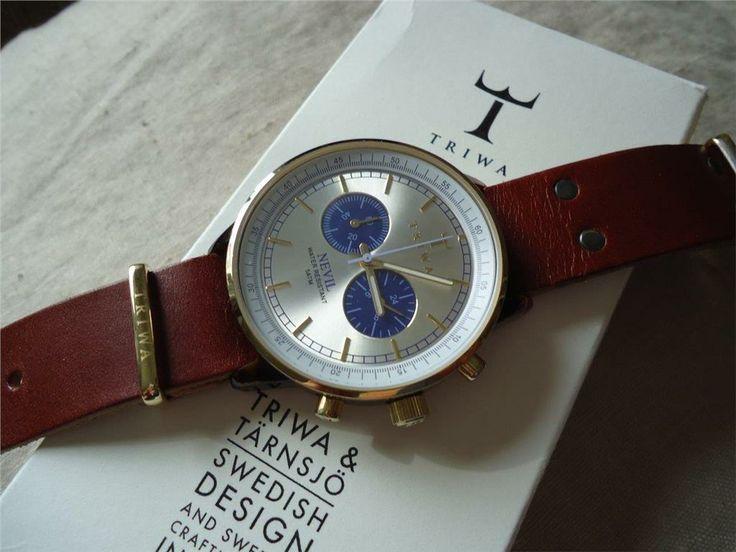 TRIWA Blue Face Nevil klocka med läder armband, unisex på Tradera.