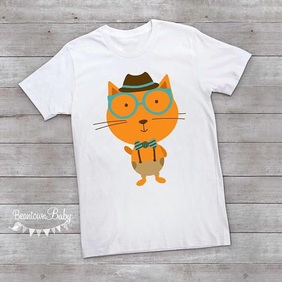 You will love this adorable Hipster Toddler Shirt with a Cool Cat design on  the front. Shirts are available in Toddler sizes 2T, 3T, 4T, and 5T.