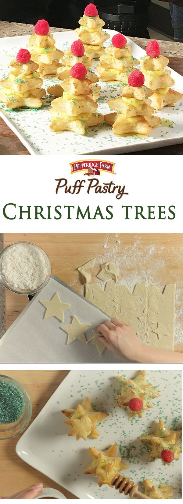 Puff Pastry Christmas Trees Recipe. Oh what fun it is to make these charming Puff Pastry Christmas Trees. Use star cookie cutters in graduated sizes to build a little dessert forest. Simply layer with vanilla pudding, drizzle with honey and top with colorful sugar. Kids will love to help build and decorate these tasty masterpieces. An impressive dessert for your next holiday party or even just a fun activity with the family.
