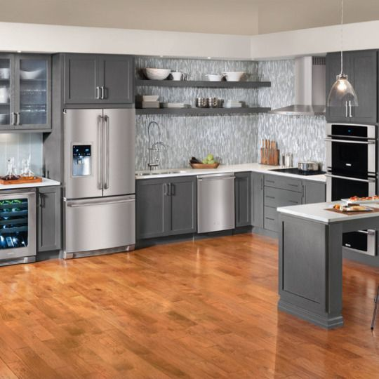 Grey Kitchen Cabinets With Black Appliances: Contemporary Slate Grey Cabinets With Stainless Appliances