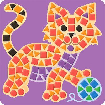 mosaic cat, mosaic crafts, craft kit #crafts #gifts