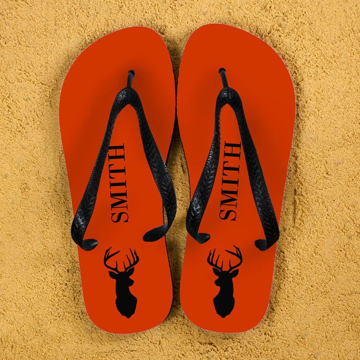 Stag Design Personalised Flip Flops in Orange - yourgifthouse
