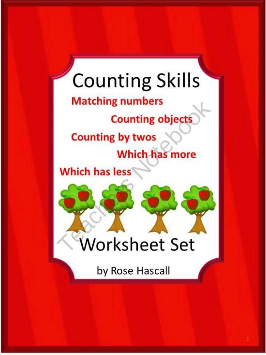 Counting Skills Worksheets, Pre-K, K, 1st Grade, Special Education, Autism from smalltowngiggles on TeachersNotebook.com (21 pages)
