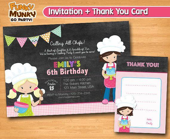 Baking Birthday Invitation Cooking Birthday by funkymunkygoparty