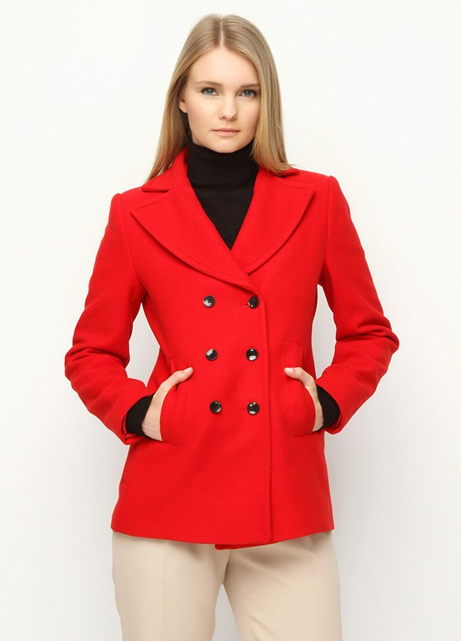 United Colors of Benetton - United Colors of Benetton Kısa Kaban red woman coat kaban