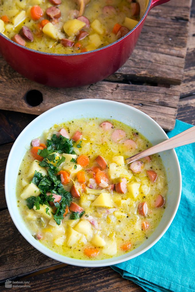 Grandma's potato soup with sausages