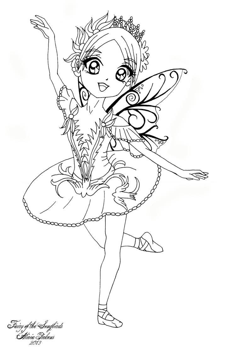 Fairy Of The Songbirds By Licieoic On Deviantart Fairy Coloring Pages Coloring Pages Cute Coloring Pages