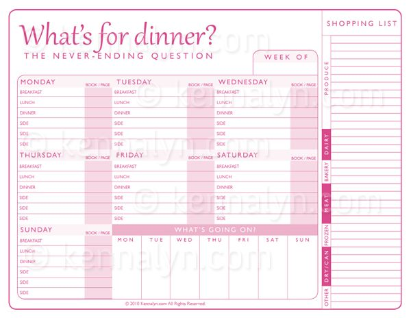 Weekly Meal Plan Printable | Cooking 101 | Pinterest ...