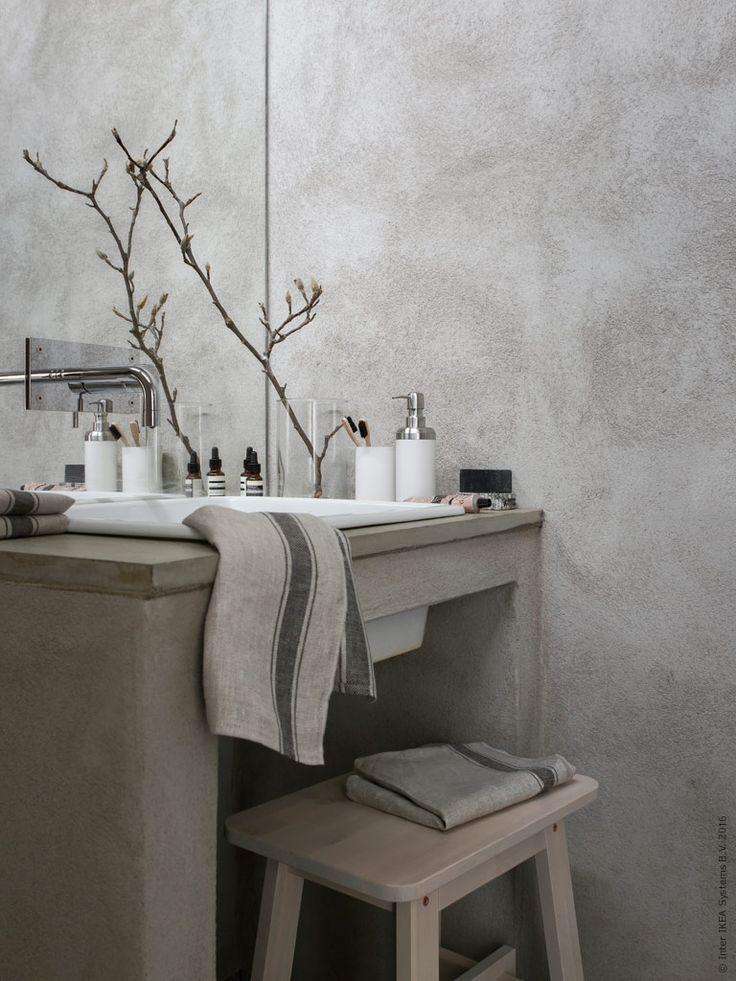 NORRÅKER kruk | #IKEA #IKEAnl #berken #koper #beton #wastafel #badkamer