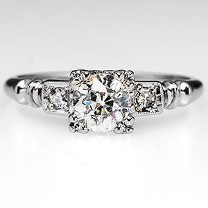 Antique 1930's Orange Blossom Engagement Ring in 18K White Gold 1930's