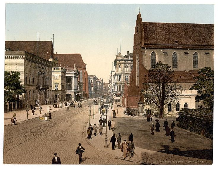 Swidnicka Street, Breslau - present day Wroclaw. Colourful photographs from the Library of Congress.