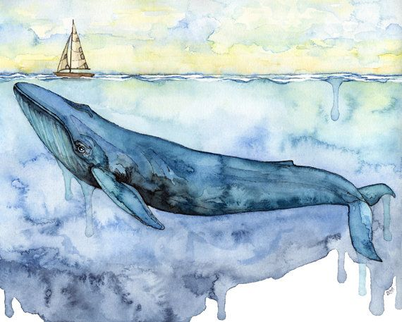 """Watercolor Blue Whale Painting - Print titled, """"Sovereign of the Sea"""" Whale Art, Whale Print, Beach Decor, Whale Nursery, Painting, Sailboat"""